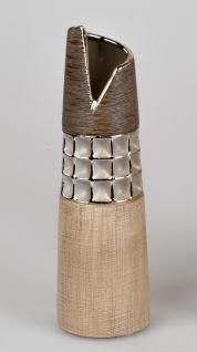 Deko Vase KARAMELL konisch rund H. 30cm creme braun Keramik Formano