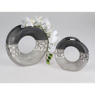 2er Set Deko Vase MODERN STONES rund H. 18cm silber grau aus Keramik Formano