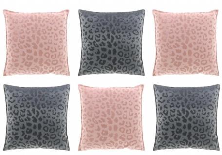 6er Set Kissen mit Füllung NALA LEO Muster 45x45cm rosa + grau Unique Living