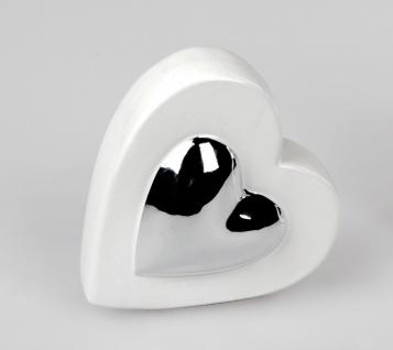 Deko Herz liegend H. 11cm weiß silber Keramik Formano F20