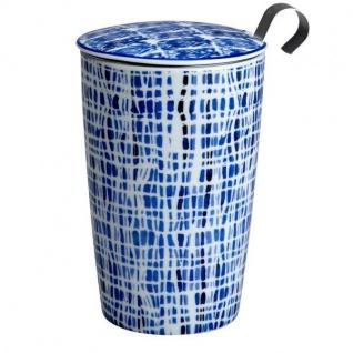 TEAEVE® Teetasse, Becher mit Sieb und Deckel INDIGO LINES blau weiß Eigenart