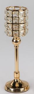 Teelichthalter RHINESTONES GOLD H. 30cm gold mit Kristallsteinen Formano