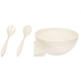 Salatschale + Salatbesteck urban grey creme weiß L 30cm Bambus Magu NATUR DESIGN