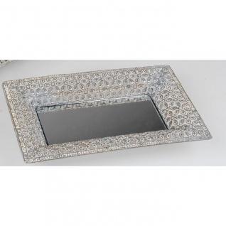 Deko Spiegeltablett Glas  Formano F19 Teller SWING rund D 20cm weiß Metall