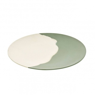 Platzteller, Servierplatte GREEN FLOW creme grün D. 35cm rund Magu NATUR DESIGN