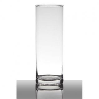 Dekoglas, Vase ZYLINDER H. 24cm D. 9cm klar transparent rund Glas Hakbijl