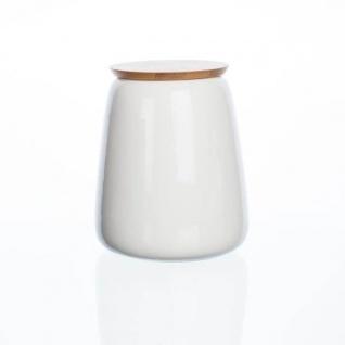 Vorratsdose STORAGE mit Bambus Deckel weiß Porzellan H. 16cm D. 13cm Sandra Rich
