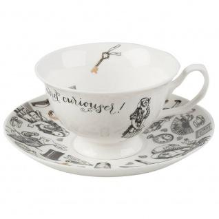 Tasse mit Untertasse ALICE IN WONDERLAND schwarz weiß Porzellan Creative Tops