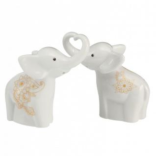Salz- und Pfefferstreuer Mandala Elefanten weiß Porzellan 11x5, 5cm H. 7cm Gobel