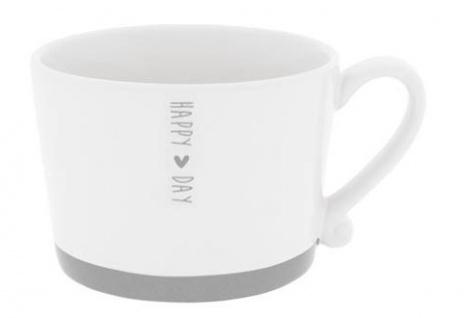 Becher, Tasse HAPPY DAY weiß grau 300ml Keramik Bastion Collections