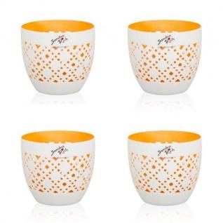 4er SET Teelichthalter ORIENT H. 8, 8cm D. 10cm weiß innen orange Sandra Rich