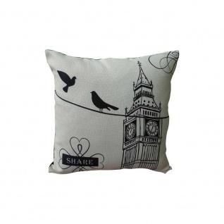 Kissen mit Füllung LONDON 45x45cm schwarz weiß Baumwolle Poly My Flair