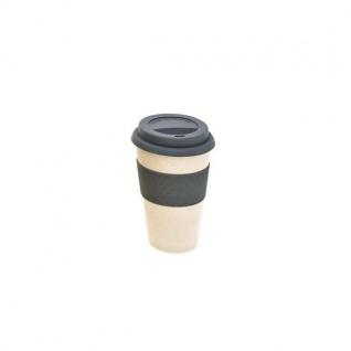 Kaffee Coffee TO GO Becher urban grey creme weiß Bambus H 15cm Magu Natur Design
