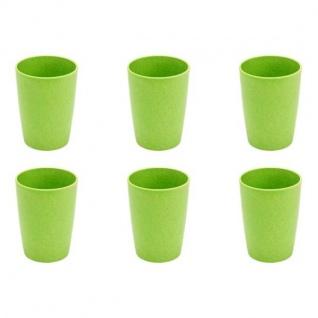 6er SET Trinkbecher Tassen Bambus grün H. 11cm 380ml Magu NATUR DESIGN
