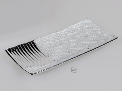 Dekoschale, Teller STYLE L. 30cm silber gemustert Keramik Formano WA