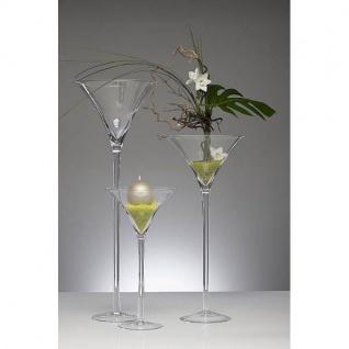 XXL Martiniglas, Bodenvase auf Fuß H. 70cm Ø 30cm transparent rund Sandra Rich