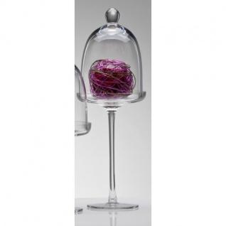 Glasglocke, Glasplatte mit Haube auf Fuß COVER H. 35cm D. 12cm rund Sandra Rich