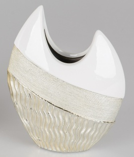 Deko Vase GOLDWAVES H. 21cm weiß champagner gold Keramik Formano W19
