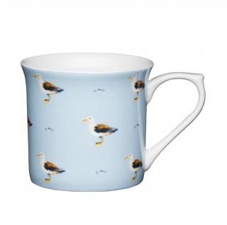 Becher, Tasse BEACH Möven für 300ml weiß blau Porzellan KitchenCraft WA