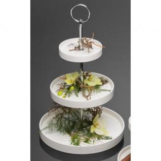 3-stöckige Etagere ROUND Kuchenplatte Porzellan H 34, 5cm weiß rund Sandra Rich