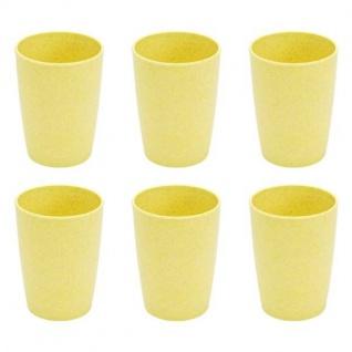 6er SET Trinkbecher Tassen Bambus gelb H. 11cm 380ml Magu NATUR DESIGN