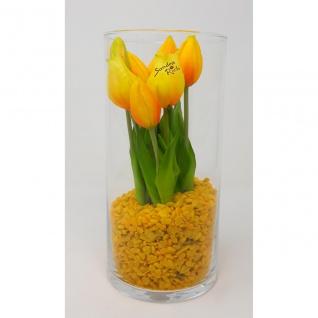 Frühlings Deko Glas mit Tulpen Arrangement in Glasvase gelb CREAFLOR HOME