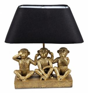 Tischlampe, Deko Leuchte AFRIKA 3 WEISE AFFEN H. 40cm gold schwarz Formano