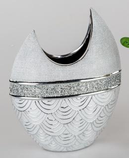 Deko Vase EDELSILBER H. 30cm silber mit Strass Keramik Formano