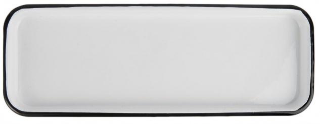 Tablett Emaille weiß mit schwarzem Rand 12, 5x35cm rechteckig IB Laursen