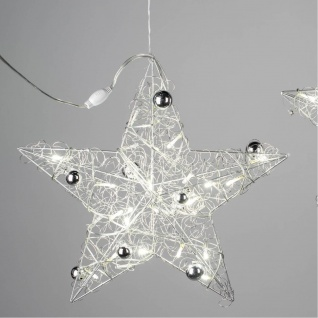 LED Deko Hänger STAR Drahtstern D. 40cm Metall silber Formano W19