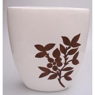 Deko Vase ZWEIG, Keramik weiß Holz-Dekor B. 30cm H. 38cm Casablanca WA
