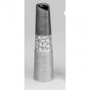 Deko Vase MODERN STONES konisch rund H. 39cm silber grau Keramik Formano