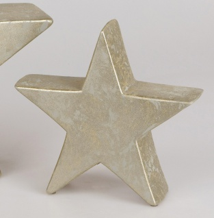 Dekoobjekt STAR Stern RUSTIK H. 25cm champagner gold Keramik Formano W19