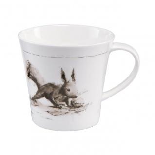 Peter Schnellhardt Tasse, Becher Eichhörnchen 350ml weiß grau Porzellan Goebel