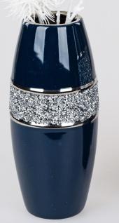 Deko Vase NACHTBLAU STRASS H. 27cm blau silber Keramik Formano