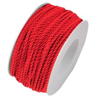 Kordelband, Atlaskordel, Seil gedreht 3mm rot 25m Rolle (1m=0, 20EUR) Goldina