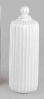 Deko Vase RELIEF RILLEN mit Deckel H. 43cm weiß creme Keramik Formano
