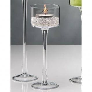 6er SET Kerzenhalter, Teelichthalter auf Fuß Glas H. 25cm D. 9cm Sandra Rich
