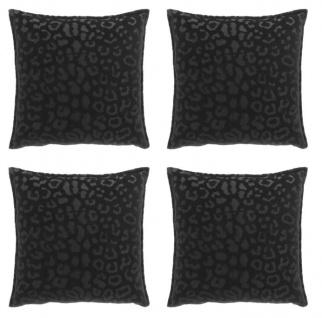 4er Set Kissen mit Füllung NALA LEO Muster 45x45cm black schwarz Unique Living