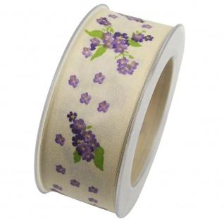 Schleifenband mit Draht AMBER 40mm creme lila (1m=0, 45EUR) 20m Rolle Goldina WA
