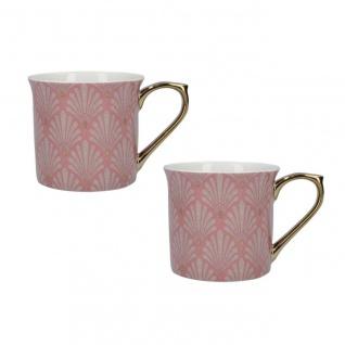 2er Set Tassen V&A Scallop Shells weiß rosa gold 250ml Porzellan Kitchen Craft