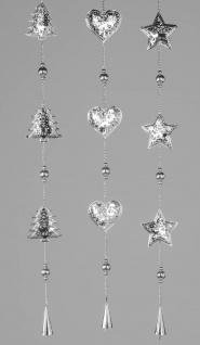 3er SET weihnachtliche Girlanden Deko Hänger L. 86cm Metall silber Formano W19