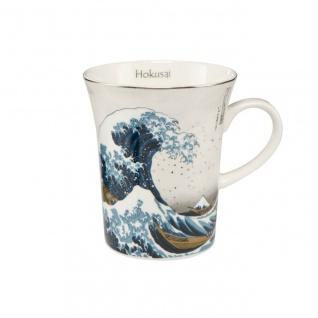 Hokusai Becher, Tasse DIE WELLE SILBER H. 11cm weiß Goebel Porzellan