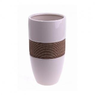 Deko Vase ROPE Keramik weiß H. 33cm D. 16cm konisch rund Hendriks WA