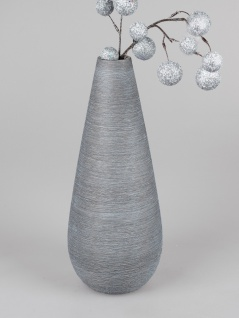 Deko Vase SILVER NATURE rund H. 42cm silber grau Keramik Formano