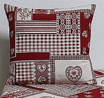 Kissenhülle Kissenbezug Taylor Herzen & Ornamente rot weiß 40x40cm Hossner