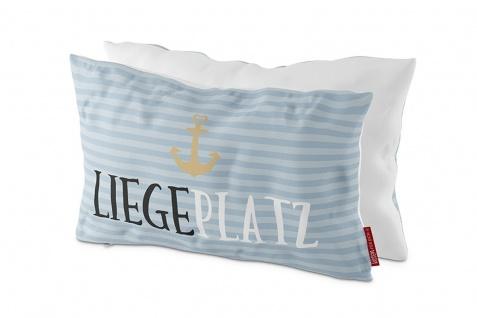 Kissen LIEGEPLATZ blau gestreift 25x40cm Maritim Bezug 100 % Baumwolle LaVida