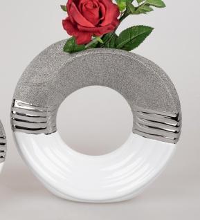 Deko Vase WHITE SILVER Kringel mit Relief H. 22cm weiß silber Keramik Formano