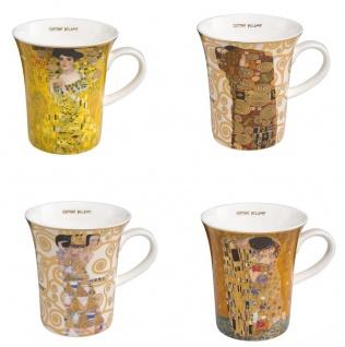 4er Set Gustav Klimt Becher, Tassen ALLE MOTIVE H. 11cm 400ml Goebel Porzellan