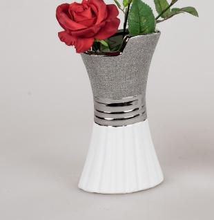 Deko Vase WHITE SILVER Tulpe mit Relief H. 20cm weiß silber Keramik Formano